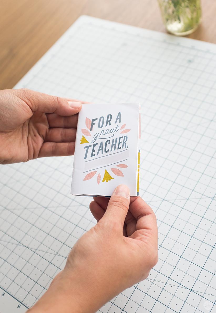 DIY teacher appreciation zine with space to write teacher's name.