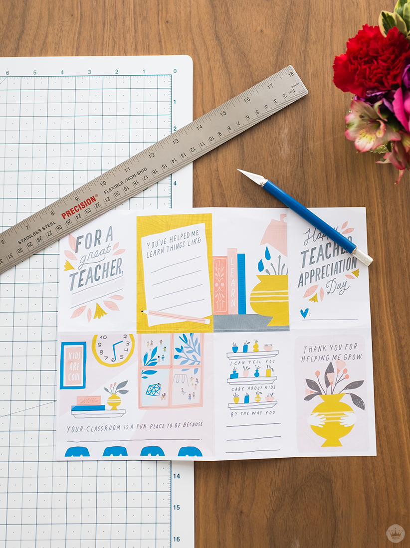 Free downloadable teacher appreciation zine plus supplies: cutting board, metal ruler, craft knife.