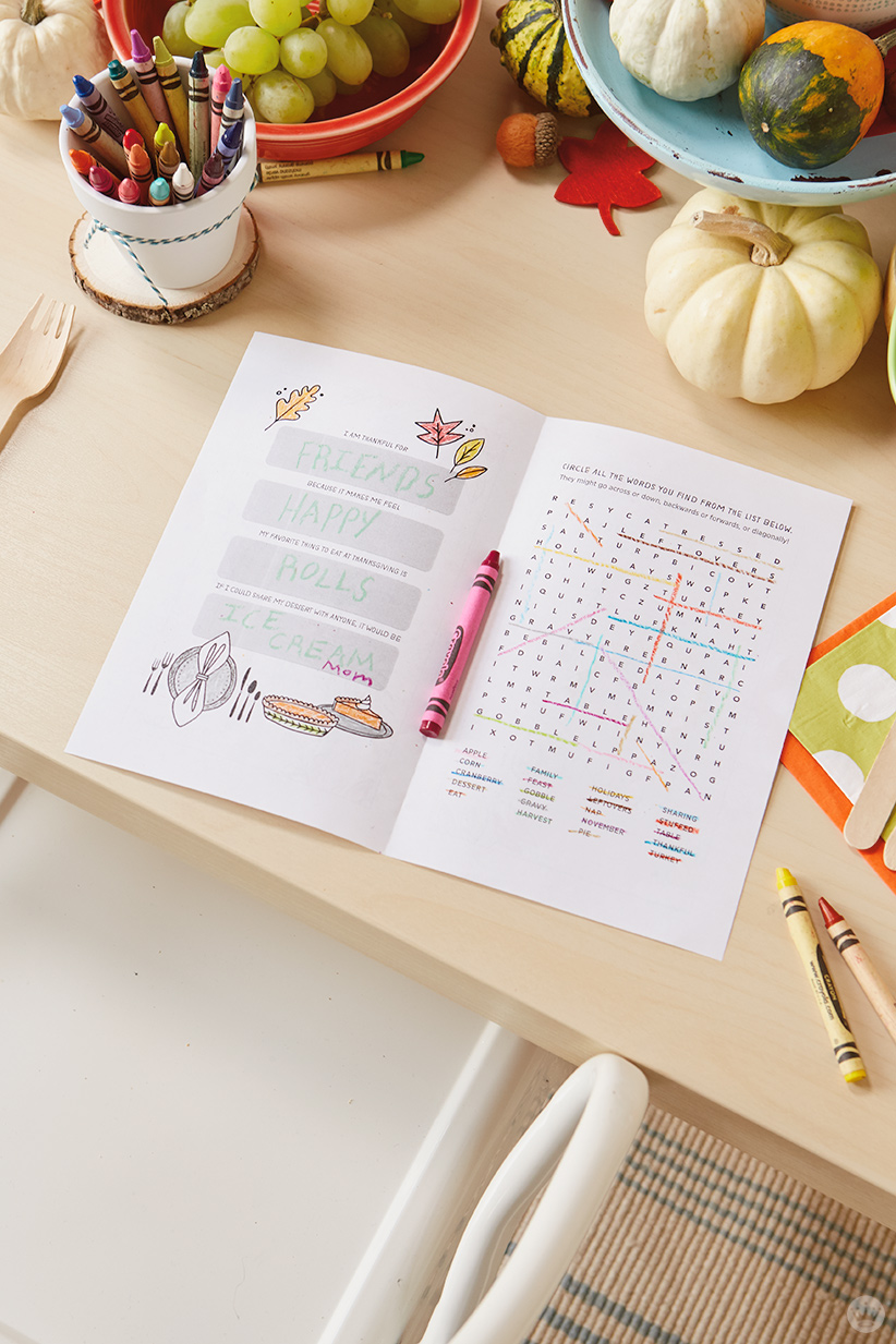 thanksgiving kids' table crafts : Inside of free printable activity book