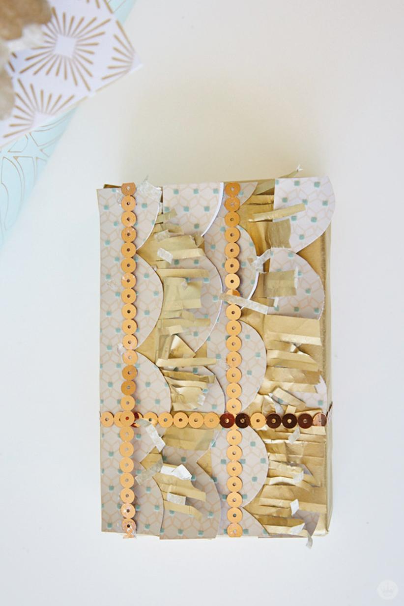 An elaborately wrapped wedding gift.