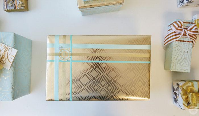 Basketweave ribbon design on a wedding gift.