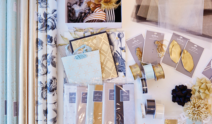 The Classic Luxury giftwrap collection from Hallmark includes wrap, bags, tissue, ribbons, and accessories.