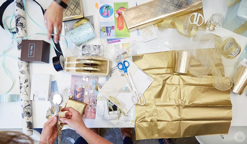 Hallmark wedding giftwrap workshop projects in progress.