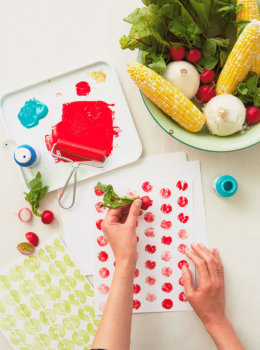 Make simple, modern prints with fruit and vegetable stamping