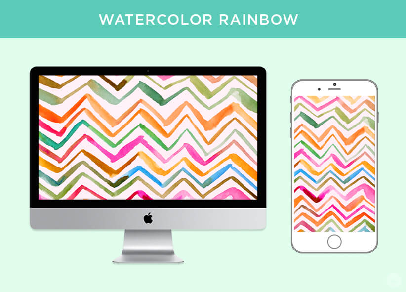 Free April 2018 Digital Wallpapers: Watercolor Rainbow design shown on desktop and mobile