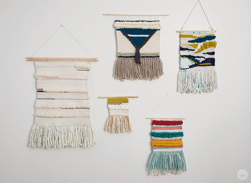 Weaving workshop: finished fiber art pieces of various color and scale