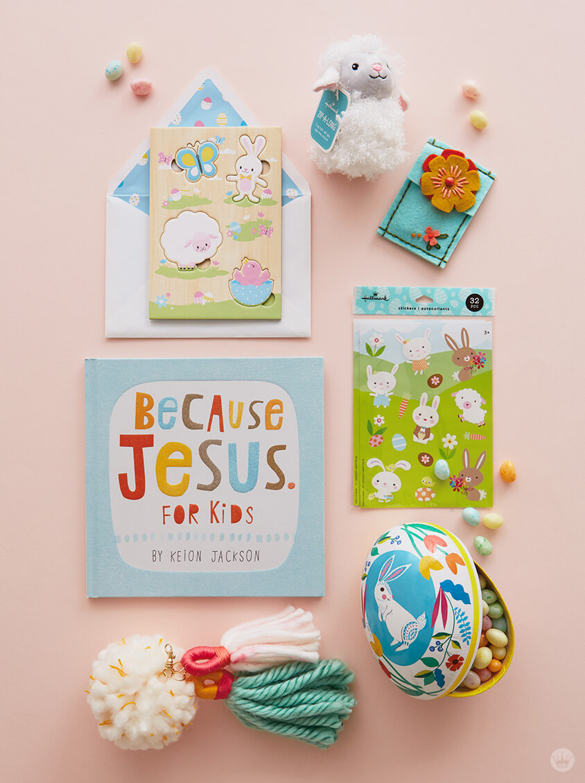 Easter basket fillers: DIY Chunky Yarn Keychain with card, stuffed lamb, book, stickers, and more
