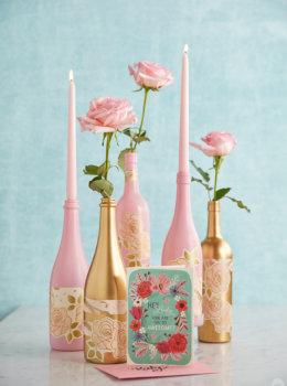 Galentine's Day party decorations: Upcycled wine bottles