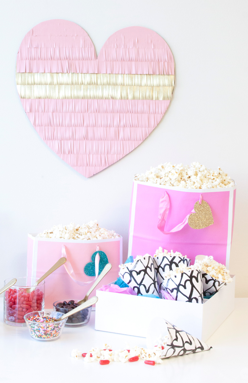 Host a DIY Galentine's Day popcorn bar | thinkmakeshareblog.com