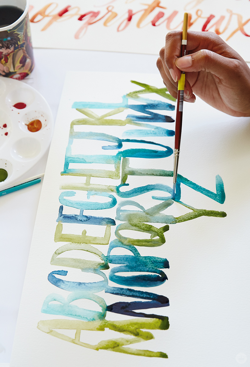 "Example of ""gradation,"" a watercolor lettering technique."