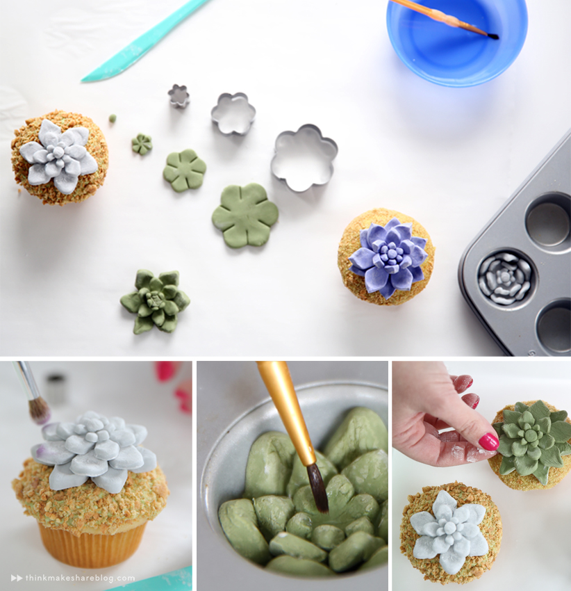 DIY succulent cupcakes with hallmark artists